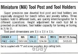 Aloris NEW 4pc Aloris Miniature MA Tool Post Lathe Swing Made In USA