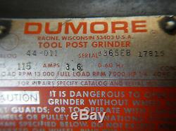 Dumore 44-011 Small Metal Lathe Tool Post Grinder 1 Phase 115v